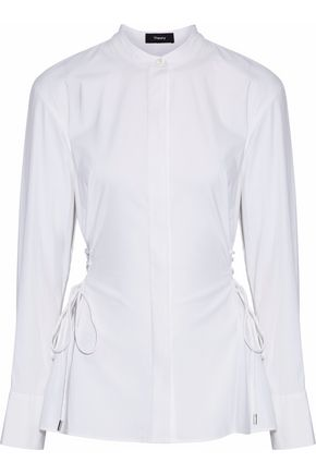 THEORY Lace-up cotton-blend poplin shirt