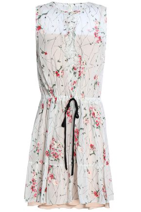 REDValentino Printed silk-blend crepe mini dress
