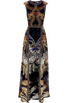 CAMILLA Layered embellished printed silk crepe de chine dress