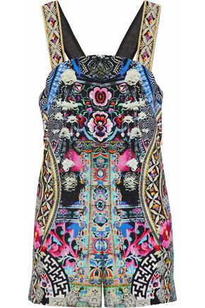 CAMILLA Bells At Dusk sequin-embellished printed cotton playsuit