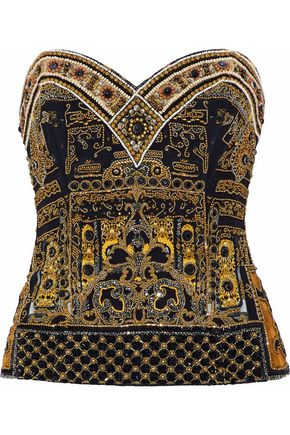 CAMILLA Strapless embellished silk bustier top