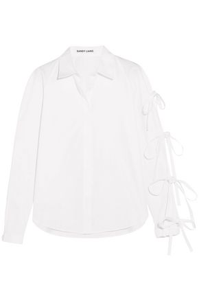 SANDY LIANG Noah bow-detailed cotton-poplin shirt