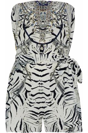 CAMILLA Strapless embellished printed silk playsuit
