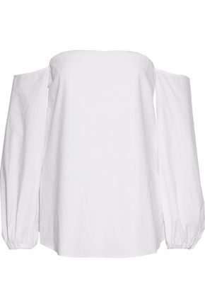 Off The Shoulder Cotton Blend Poplin Top by Theory