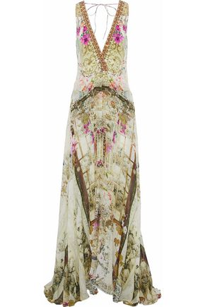 CAMILLA Girl In The Garden layered embellished printed silk playsuit