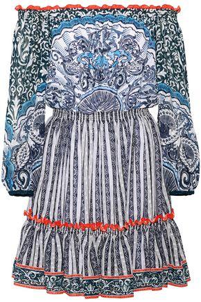 MARY KATRANTZOU Off-the-shoulder printed Swiss-dot chiffon mini dress