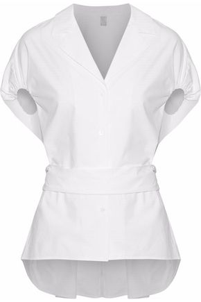 Rosie Assoulin ROSIE ASSOULIN WOMAN TIE-BACK COTTON-POPLIN SHIRT WHITE