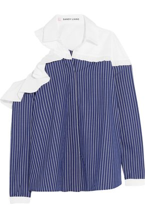 SANDY LIANG Charles cutout pinstriped cotton-poplin shirt
