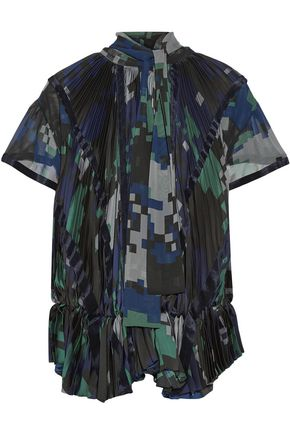 SACAI Pussy-bow pleated printed chiffon blouse