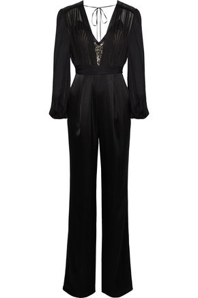CATHERINE DEANE Justina layered silk-chiffon, lace and satin jumpsuit