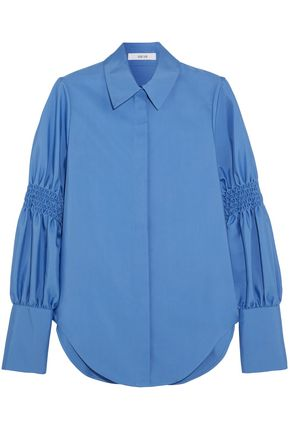 ADEAM Smocked cotton-blend shirt