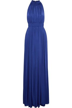 CATHERINE DEANE Gathered pleated stretch-jersey gown
