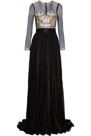 CATHERINE DEANE Jocelyn embroidered tulle-paneled pleated silk-chiffon gown