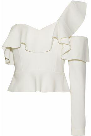 RACHEL GILBERT One-shoulder ruffled cutout crepe top