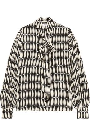 LANVIN Pussy-bow printed silk crepe de chine blouse