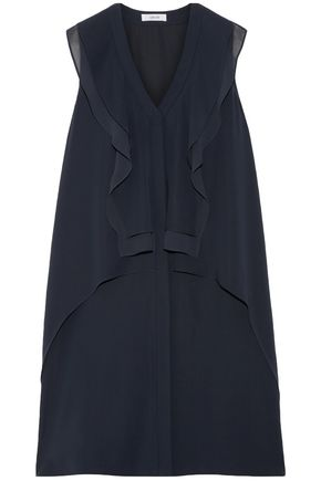 ADEAM Chiffon-paneled ruffled crepe dress