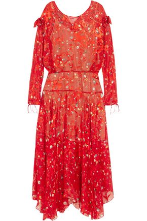 PREEN by THORNTON BREGAZZI Andrea printed devoré silk-chiffon midi dress