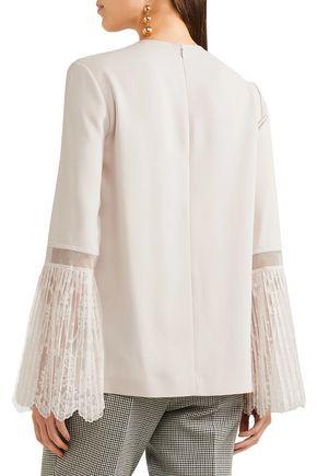 STELLA McCARTNEY Pleated embroidered tulle-paneled crepe blouse