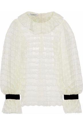 PHILOSOPHY di LORENZO SERAFINI Velvet-trimmed ruffled lace blouse