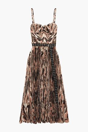 ALEXANDER MCQUEEN Belted printed plissé silk crepe de chine midi dress