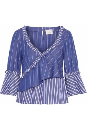 CINQ À SEPT Wrap-effect ruffled striped cotton shirt