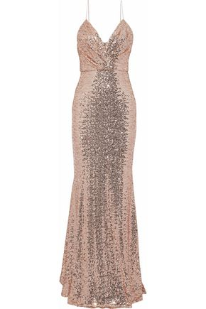BADGLEY MISCHKA Wrap-effect sequined mesh gown