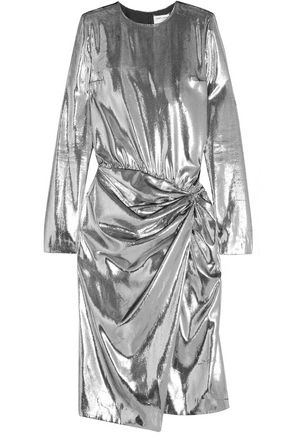 SAINT LAURENT Gathered velvet-lamé dress