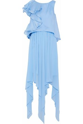 BADGLEY MISCHKA Layered ruffled satin and silk-chiffon gown