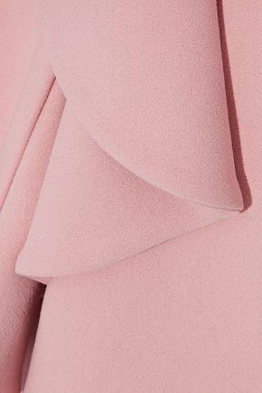 BADGLEY MISCHKA Ruffled cady peplum gown