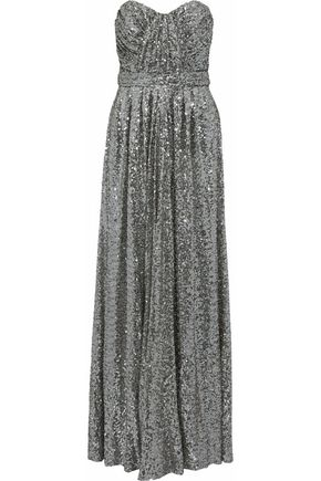 BADGLEY MISCHKA Strapless gathered sequined mesh gown
