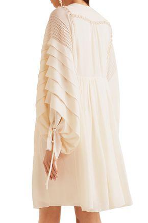 CHLOÉ Metallic embroidered ruffled silk-seersucker dress
