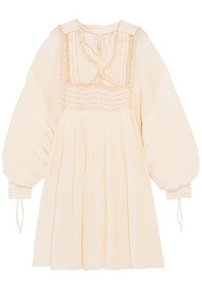 CHLOÉ Metallic embroidered ruffled silk-seersucker dress