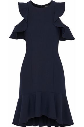 CINQ À SEPT Micah cold-shoulder ruffle-trimmed cady dress