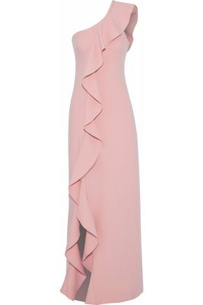 CINQ À SEPT Remy one-shoulder ruffled crepe gown