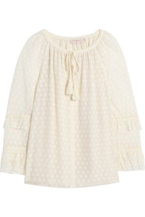 TORY BURCH Ruffle-trimmed fil coupé silk-blend blouse