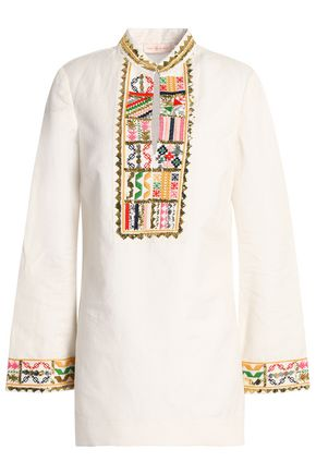 TORY BURCH Embroidered linen and cotton-blend gauze tunic