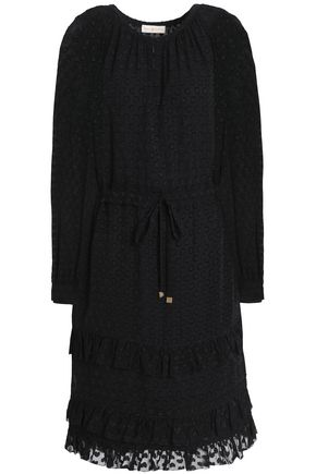 TORY BURCH Tiered fil coupé silk-blend dress