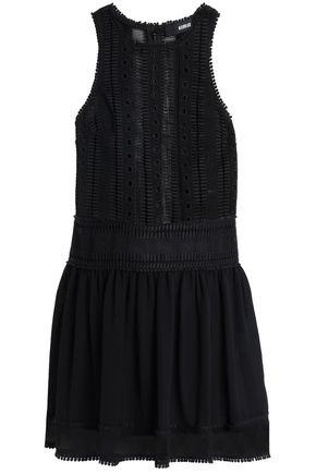 NICHOLAS Guipure lace-paneled chiffon mini dress