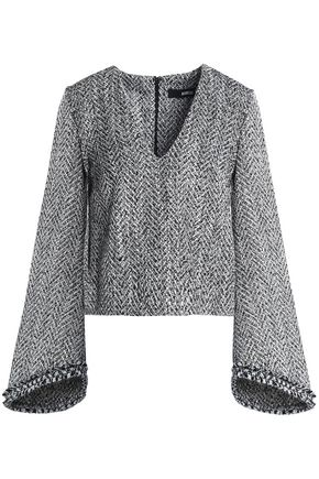 NICHOLAS Fluted bouclé-tweed top
