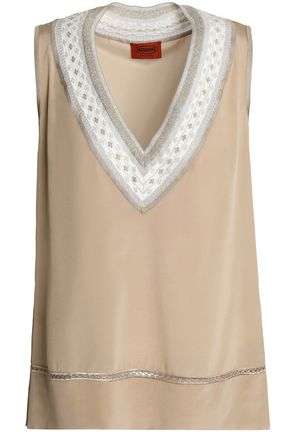 MISSONI Crochet-trimmed silk-blend top