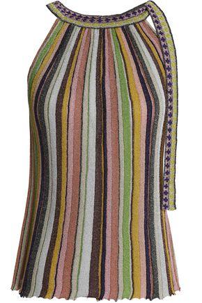 MISSONI Striped metallic crochet-knit halterneck top