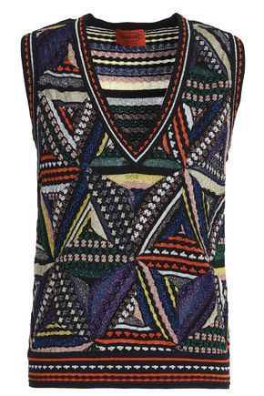 MISSONI Patchwork-effect metallic crochet-knit vest
