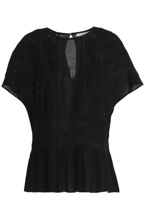 IRO Tamya lace-trimmed crepe top