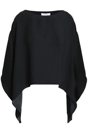 IRO Asymmetric satin-crepe top