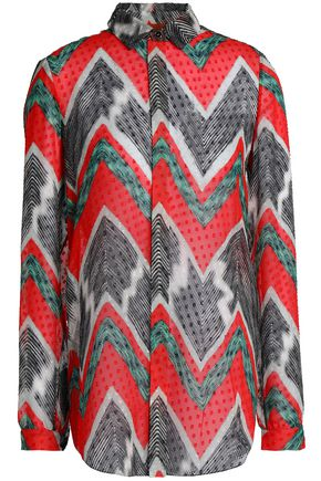 MISSONI Printed fil coupé silk-georgette shirt