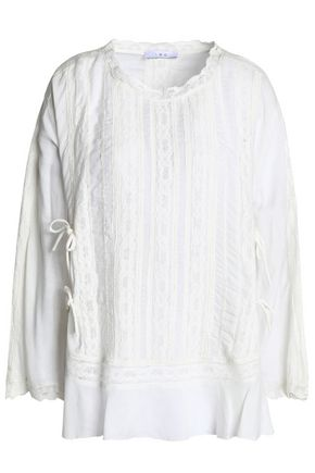IRO Crochet-trimmed mousseline blouse