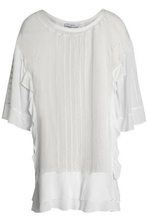 IRO Ruffled broderie anglaise georgette top