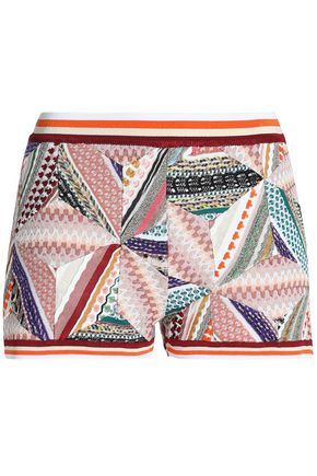 MISSONI Patchwork-effect crochet-knit shorts