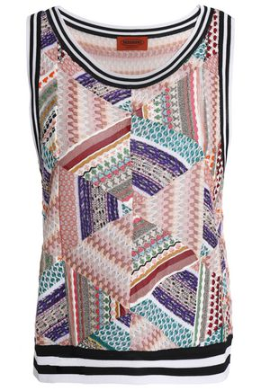 MISSONI Paneled crochet-knit tank
