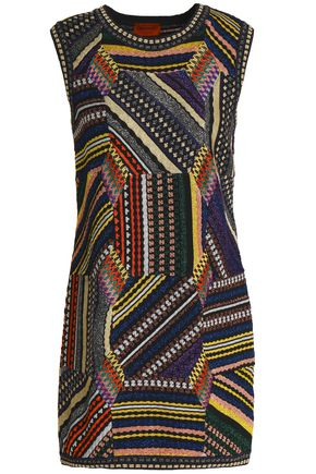 MISSONI Metallic jacquard-knit mini dress
